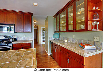 View of kitchen cabinets