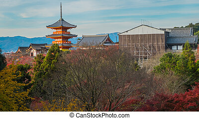 View of Kiyomizu temple in Kyoto, Japan. Landcape of Kiyomizu temple in Japan