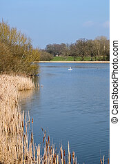 View of Kneppmill Lake on a Sunny Spring Day