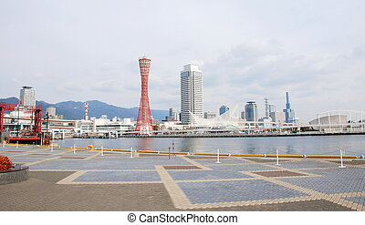 view of Kobe tower and city landscape, Japan