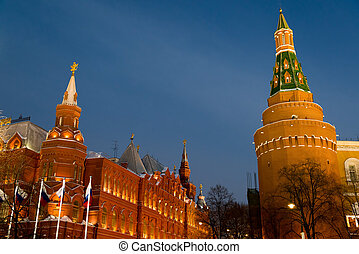 View of Kremlin and Historical Museum at night