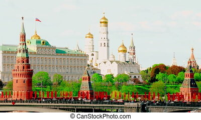 View of  Kremlin and river in  city of Moscow