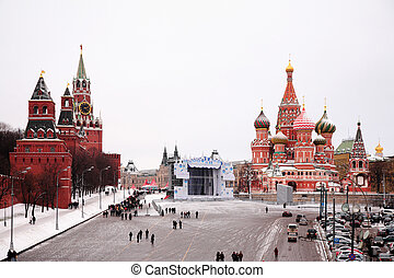 View of Kremlin and St. Basil\'s cathedral in winter