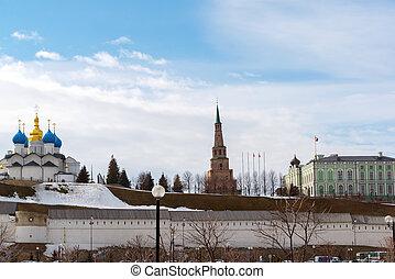 View of Kremlin from the Farmers Park. Kazan, Russia
