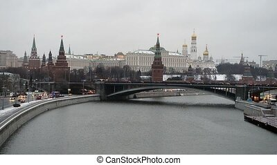 view of Kremlin in the winter, Moscow, Russia