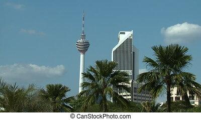 View Of Kuala Lumpur Tower, KL, Malaysia - Medium low-angle...
