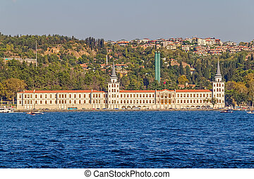 View of Kuleli military school and old houses and mansions sailing Bosphorus