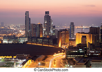 View of Kuwait City at night, Middle East