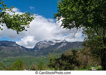 view of La Tournette summit near Annecy lake