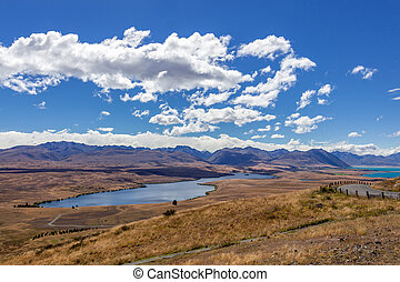 View of Lake Alexandrina in New Zealand