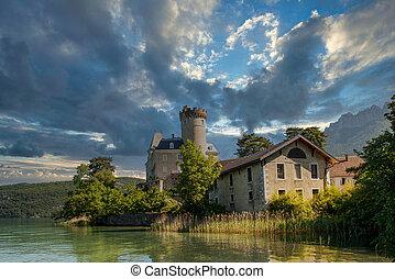 Lake Annecy and Chateau de Duingt (Duingt Castle), Haute-Savoie, France