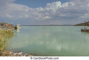 View of lake Balaton, harbor from Tihany