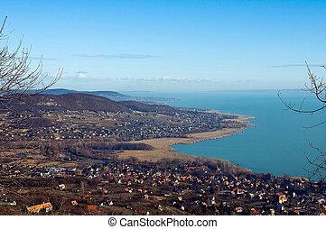 View of lake Balaton in wintertime