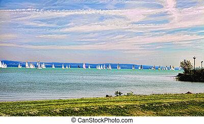 View of Lake Balaton, on a sunny day