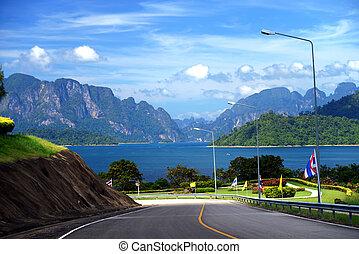 View of lake Cheo Lan lake along the way . Khao Sok National Park. Thailand.