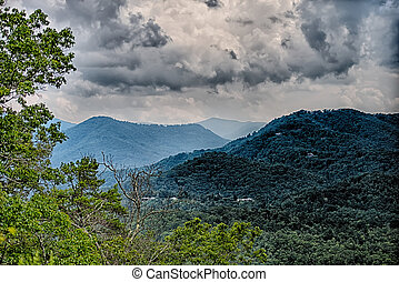 view of Lake Fontana in western North Carolina in the Great...