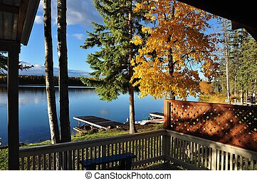 View of lake in autumn