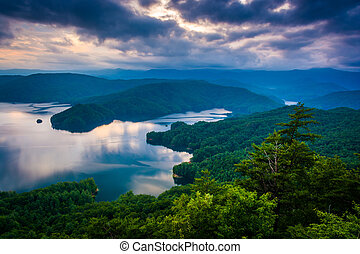 View of Lake Jocassee at sunset, from Jumping Off Rock,...