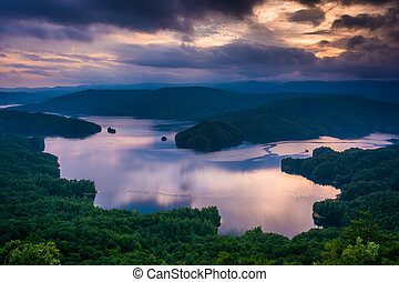 View of Lake Jocassee at sunset, from Jumping Off Rock, North Ca
