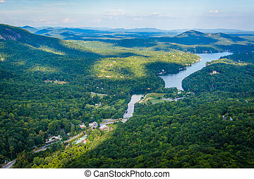 View of Lake Lure from Chimney Rock State Park, North...