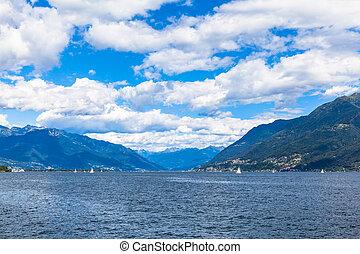 View of Lake Maggiore in Ticino, Switzerland