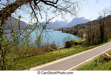 view of Lake of Annecy with the bike path