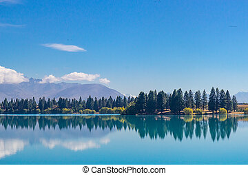 View of Lake Ruataniwha, south island, New Zealand