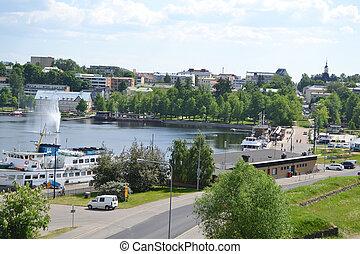View of lake Saimaa and town of Lappeenranta, Finland