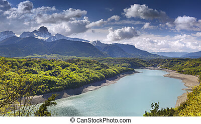 View of Lake Sautet, Alps, France.