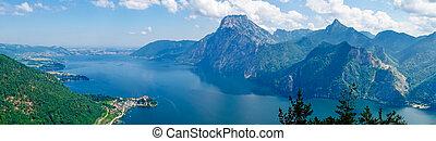 View of lake Traunsee in Salzkammergut, Austria