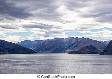 view of lake Wanaka, south island, New Zealand