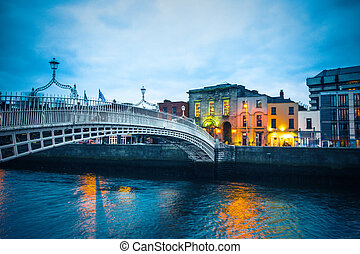 View of landmark Ha'Penny Bridge Dublin