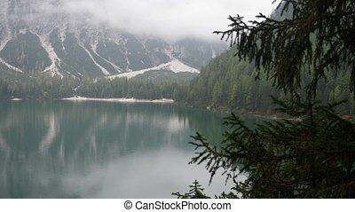 View of landscape in Italian Alps in Trentino region. Pan of...