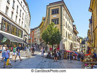 View of Lausanne street in summer - LAUSANNE, SWITZERLAND -...