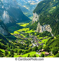 View of Lauterbrunnen in Swiss Alps