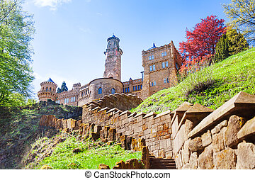 View of Lions castle Lowenburg in Kassel, Germany - View of...