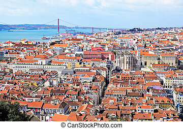 View of Lisbon with bridge in the background, Portugal
