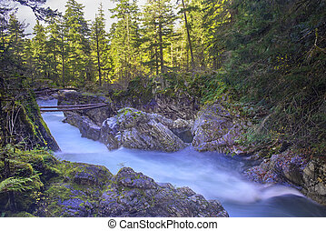 View of Little Qualicum Falls in Vancouver Island, Canada -...