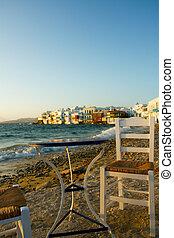 view of Little Venice in Mykonos