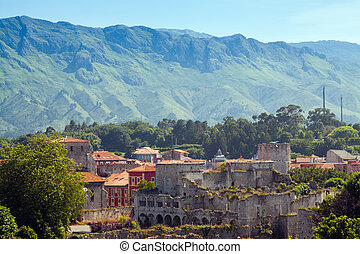 View of Llanes with abandoned castle. Asturias, Spain