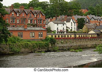 View of Llangollen, UK - View of Llangollen in Denbighshire...