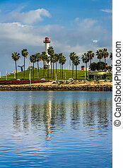 View of Long Beach Harbor Lighthouse, in Long Beach, California.