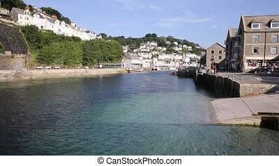 View of Looe town & river Cornwall - View of Looe town and ...