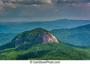 View of Looking Glass Rock from the Blue Ridge Parkway in...