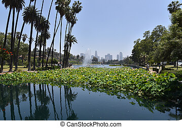 View of Los Angeles Skyline from Echo Park