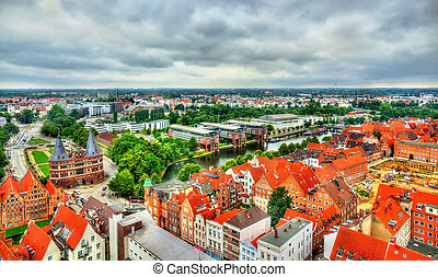 View of Lubeck old town, a UNESCO heritage site in Germany