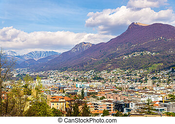 View of Lugano, a town in Swiss Alps