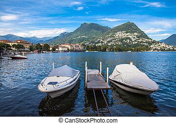 View of Lugano lake and the mountain in Locarno city, Ticino, Switzerland