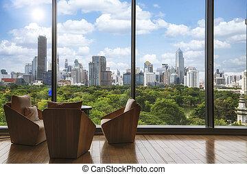 View of Lumpini park in Bangkok city, Thailand