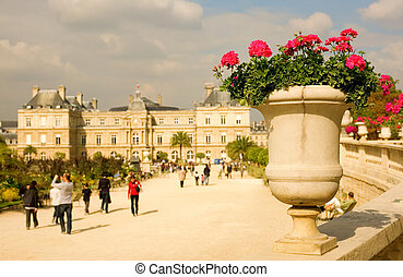 View of Luxembourg garden in Paris, France